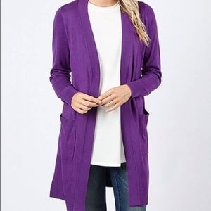 Splendid Open Front Purple Long Cardigan Sweater M